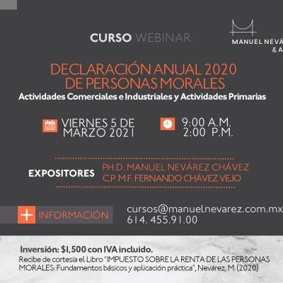"""INVITACIÓN AL WEBINAR """"DECLARACION ANUAL 2020 DE PERSONAS MORALES"""""""