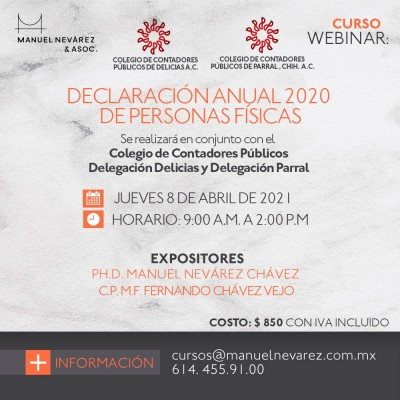 """INVITACIÓN AL WEBINAR """"DECLARACION ANUAL 2020 DE PERSONAS FÍSICAS"""""""